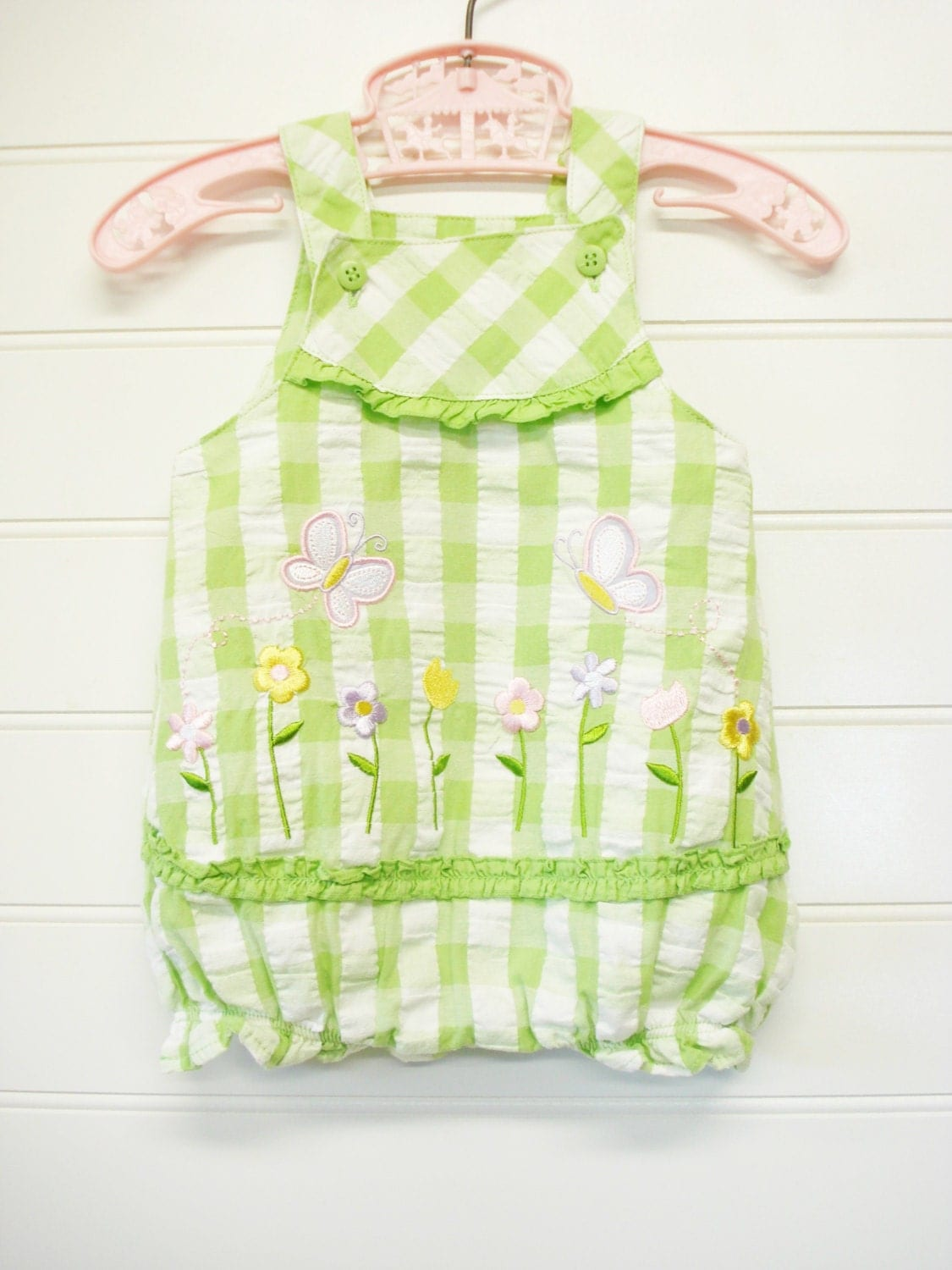 Vintage Baby Clothes Baby Girl Romper Green and White
