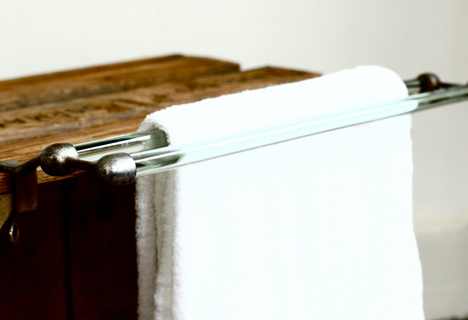 French glass towel bar towel rack by crolandco on etsy Glass towel bar