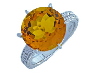 3.5 Ct Yellow Citrine Round Ring .925 Sterling Silver Rhodium Finish