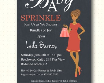 Baby Sprinkle Invitation, boy, girl, shower, gender reveal, digital, modern, chalkboard, classic, digital, printable, invite, B1446
