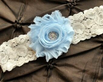 Wedding Garter, Bridal Garter - Ivory Lace Garter, Toss Garter, Something Blue, Baby Blue Wedding Garter, Light Blue Wedding Garter