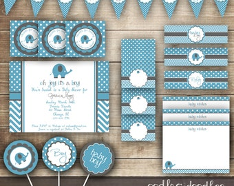 Elephant Baby Shower / Chevron & Polka Dots / Blue and Gray PARTY PACKAGE  / Baby Boy Party Kit - Printable