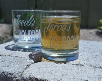 Personalized Bourbon Glass  - Deep Etched Straight Sided Rocks Glass, Whiskey Glass, Personalized Rocks Glass, Custom Bourbon Glass