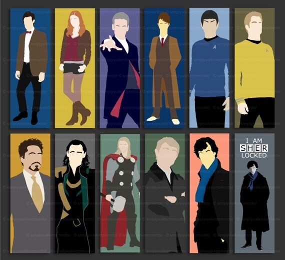 Bookmark – Doctor Who – 10th – 11th – 12th – Sherlock – Loki – Tony Stark – Thor – Captain Kirk – Mr Spock – fandom bookmarks