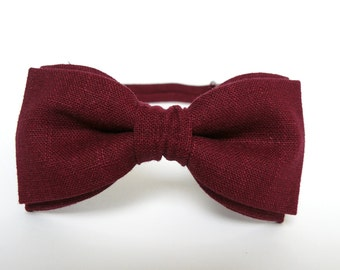Burgundy Bow Tie for Men Wedding Bow Tie Mens Bow Ties Linen Bow Tie Gift for Men Groomsmen Gift for Christmas Maroon Bow Tie BowTie for Men