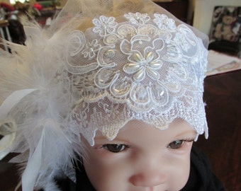 Delicate tulle, lace and feather bonnet for christening/baptism/blessing