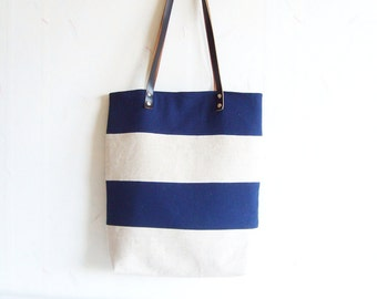 Summer beach tote bag, nautical tote bag, linen tote bag, blue and beige tote, real leather handles, bridesmaid tote bag, bridesmaids gift
