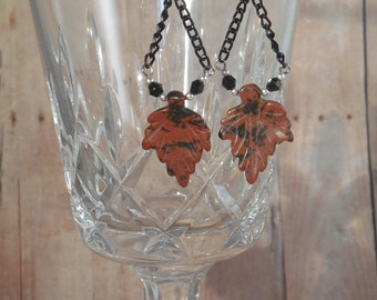 Silver, Black Swarovski Crystal, and Red and Black Semi-Precious Stone Carved Leaf Earrings - E-039
