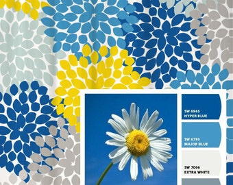 Shower Curtain Daisy Yellow Sky Blue Inspired Floral Standard and Long  Lengths 70 74 Gray