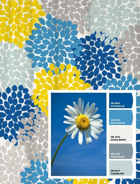 teal and yellow shower curtain. Shower Curtain Peacock Blue Green Gray Inspired Floral Standard and Long  Lengths 70 74 78 84 88 or 96 in Let s make one your colors