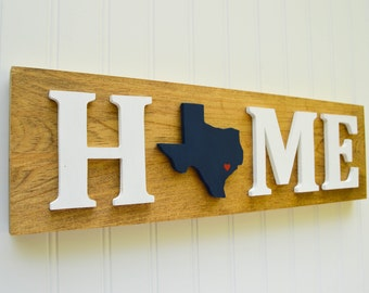 "Houston Texans ""State Heart"" Home Sign - Handcrafted wood with official team colors"