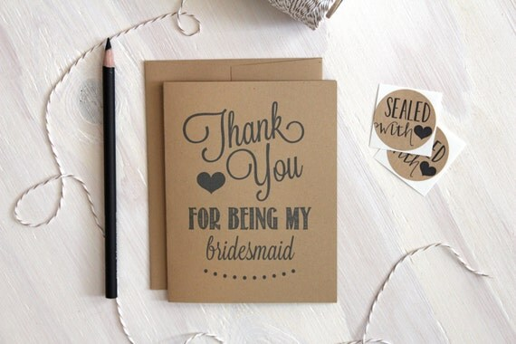 Rustic Kraft Thank You for Being My Bridesmaid Card, Rustic Bridesmaid Card, Wedding Thank You Card, Bridesmaids, Stationery, Stationary