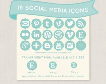 Scalloped Mint Green Social Media Icon Set - 18 icons to use for your blog, website, or portfolio. Available in multiple sizes!