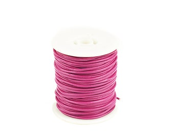 2mm Leather Cord, Hot Pink Genuine Leather Cord, Round Leather Cord, Pkg of 30 ft., D0F6.PI57.L30F