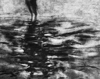 Haunting Figure Print Moody Dark Fine Art Monotype Plunge I