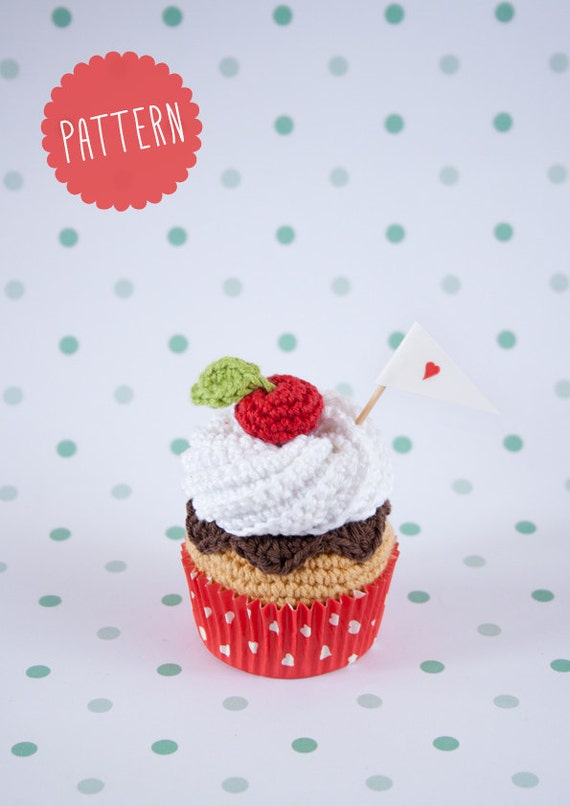 "Cupcake crochet PATTERN. ""whipped cream, chocolate and cherry, cupcake"". PDF"