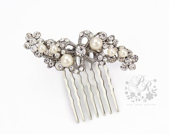 Wedding Hair Comb Swarovski Pearl Rhinestone Bridal Hair Comb Wedding Jewelry Bridal Jewelry Hair Accessory Bridesmaid Hair Comb ribbon