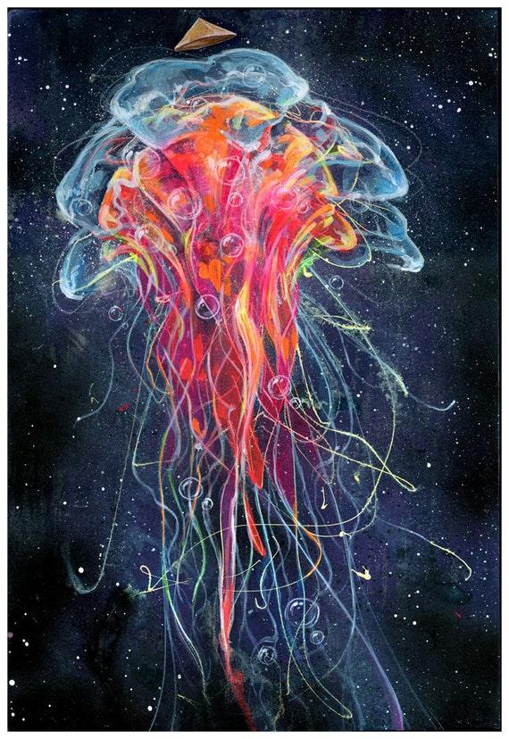 Jelly fish art print jellyfish artwork wall art for Jelly fish painting