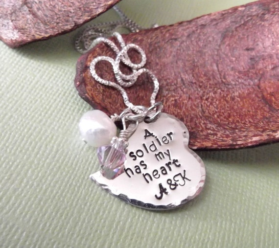 A Soldier/Marine/Airman/Sailor Has My Heart- Military Jewelry- Hand Stamped Deployment Necklace- Deployment Jewelry- Military Wife Necklace