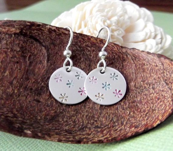 Hand Stamped Earrings- Spring Time Earrings- Hippie Earrings- Flower Earrings- Hand Stamped Jewelry