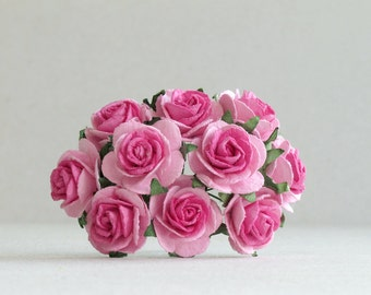 25mm Hot Pink Paper Roses - 10 mulberry paper flowers with wire stems [716]