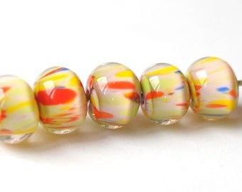 Handmade Glass Lampwork Beads - Orange, Yellow, Blue Lime  - 5 pcs Glass Lampwork Beads Set