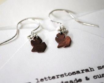 Michigan Mitten Lower Peninsula Sterling Silver and Copper Dangle Earrings