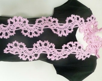 Pink Crochet Lace Scarf / Powder Pink Crochet Scarf With Scalloped Design and Edging