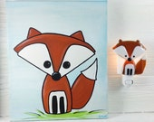 Duo nightlight and painting, fox, fused glass, paint, baby, room decoration, nursery, shower gift, kid room