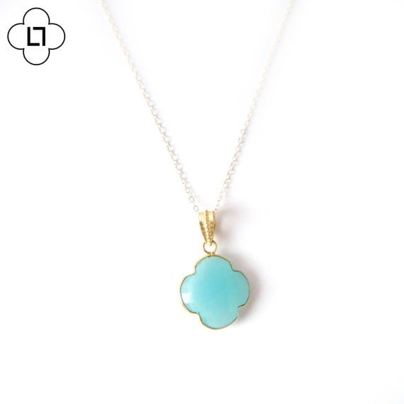 Gold Chalcedony Clover Necklace