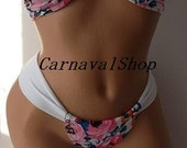 PADDED Pink Floral bikini set & brazilian bottom.spandex bandeau