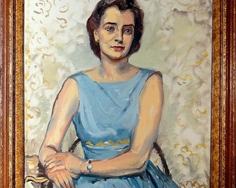 Exquisite ca.1930 Frank Stanley Herring Lady Portrait Painting w/Frame