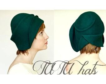 Vintage style hat / women felt cloche hat / Handmade hat