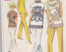 Simplicity 8000 Vintage Pattern Womens Mod Top and Stove Pipe Pants Size 10