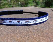 Women's Denver Broncos noslip headband. Blue, Orange, Peyton Manning, hair, accessory, women's, girls, NFL, playoffs, super bowl