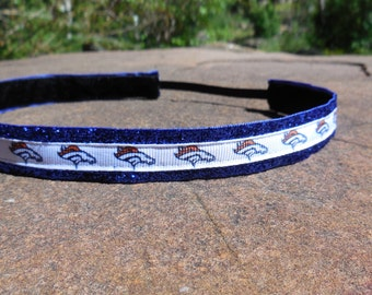 Women's Denver Broncos noslip headband. Blue, Orange, hair, accessory, women's, girl's, ladies, NFL, Denver, Broncos, sassyband, sports
