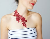 Lasata // Burgundy Red Necklace/ Lace Necklace/ Statement Necklace/ Lace Fashion/ Floral Necklace/ Women Accessory/ For Her/ Christmas Gift