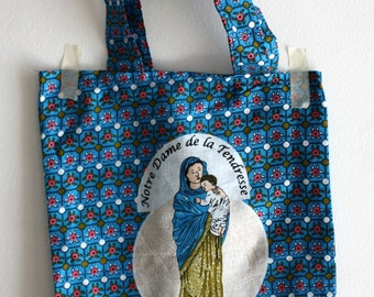 Racing (tote bag) bag religious fabric, our Lady of tenderness