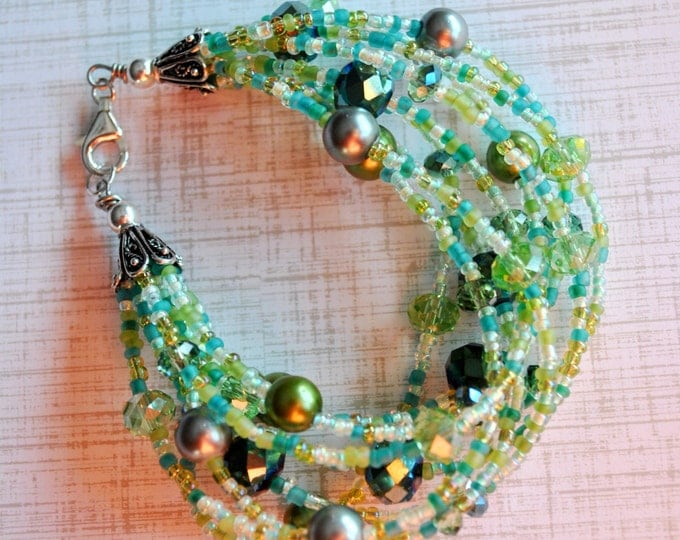 9 Strand Green Bracelet with pearls and crystals Multi-Strand bracelet