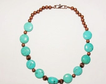Gemstone Necklace - Genuine Turquoise and Copper Beads - S2363
