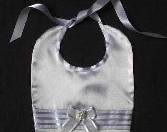 Infant Baby Girl  Satin Christening/Baptism/Wedding/ Special Occasion Bibs