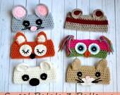 PATTERN Animal Ear Warmers - Crochet - Mouse, Fox, Owl, Bear, Cat, Monkey