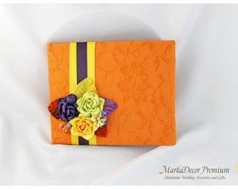 READY TO SHIP Wedding Lace Guest Book Custom Bridal Flower Brooch Guest Books in Orange, Lapis Purple, Yellow and Lime Green