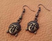 Lucky Buddha // Buddha Earrings // Zen Earrings // Yoga Earrings // Hippie Earrings // Boho Earrings // Bronze Earrings // Asian Earrings