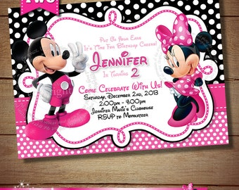 HUGE SELECTION Mickey Minnie Mouse Second Birthday Invitation, Mickey Minnie Birthday Invitation, Pink Mickey Minnie Party Printables