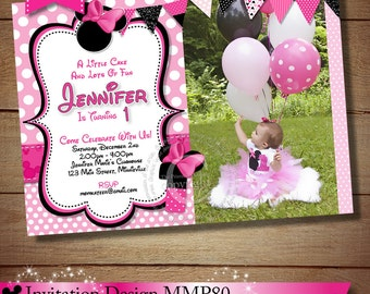 HUGE SELECTION Pink Polka Dot Minnie Mouse Birthday Invitation, Pink Minnie Mouse Photo Invitations, Printable Invitation, Photo Invitation