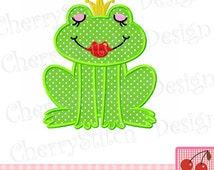 Frog Princss Digital Embroidery Applique -4x4 5x7 6x10-Machine Embroidery Applique Design
