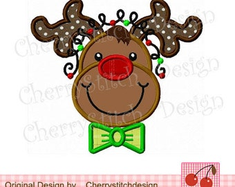 Christmas Embroidery Reindeer applique Christmas Machine Embroidery Design for boys- 4x4 5x5 6x6""