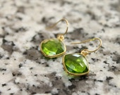 St. Patrick's Day - Gemstone Peridot Earrings Bezel Set In Gold Vermeil