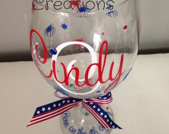 Personalized 4th of July  Wine Glass